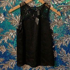 H&M Black Satin Lace Blouse